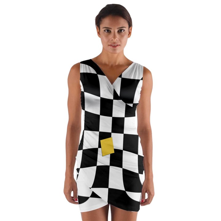 Dropout Yellow Black And White Distorted Check Wrap Front Bodycon Dress