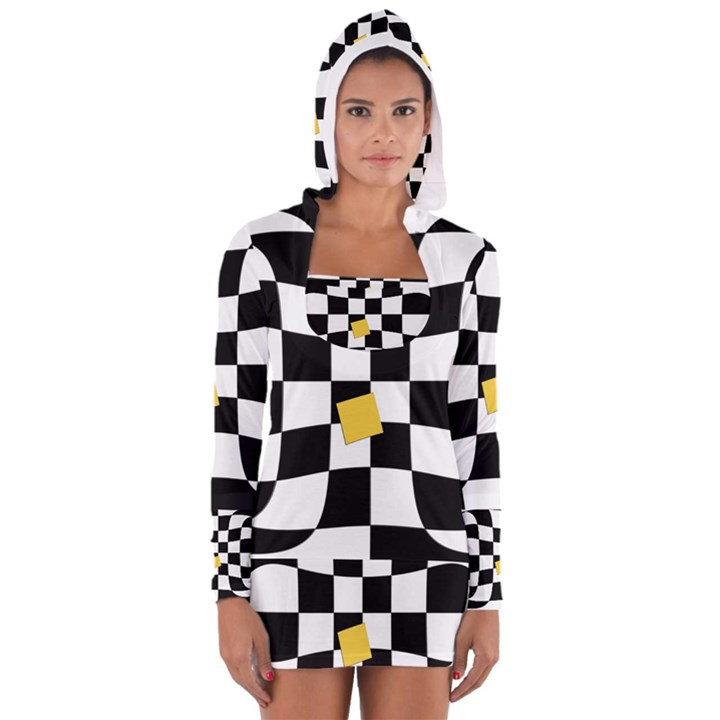 Dropout Yellow Black And White Distorted Check Women s Long Sleeve Hooded T-shirt