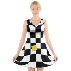 Dropout Yellow Black And White Distorted Check V Neck Sleeveless Skater Dress by designworld65