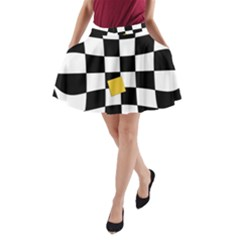 Dropout Yellow Black And White Distorted Check A Line Pocket Skirt by designworld65