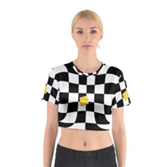 Dropout Yellow Black And White Distorted Check Cotton Crop Top by designworld65
