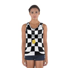 Dropout Yellow Black And White Distorted Check Women s Sport Tank Top