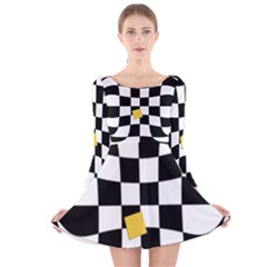 Dropout Yellow Black And White Distorted Check Long Sleeve Velvet Skater Dress by designworld65