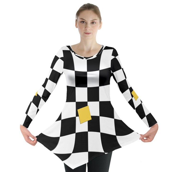 Dropout Yellow Black And White Distorted Check Long Sleeve Tunic