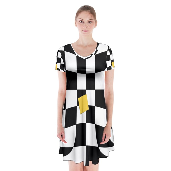 Dropout Yellow Black And White Distorted Check Short Sleeve V-neck Flare Dress