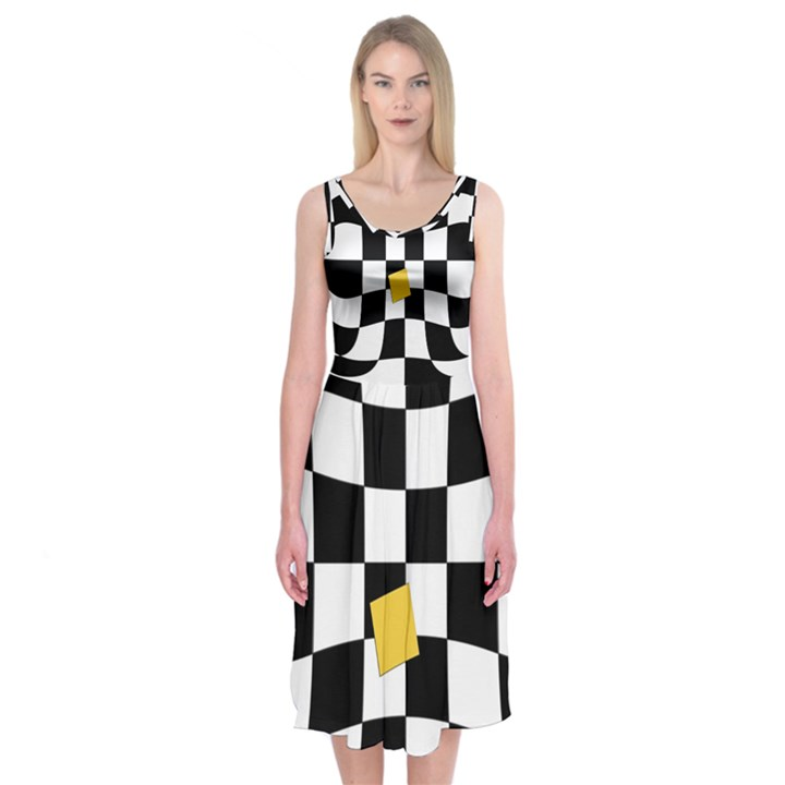 Dropout Yellow Black And White Distorted Check Midi Sleeveless Dress