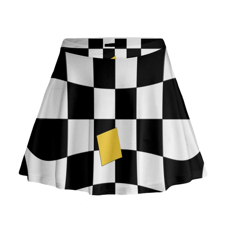 Dropout Yellow Black And White Distorted Check Mini Flare Skirt