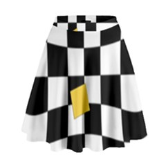 Dropout Yellow Black And White Distorted Check High Waist Skirt by designworld65