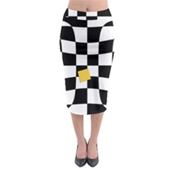 Dropout Yellow Black And White Distorted Check Midi Pencil Skirt by designworld65