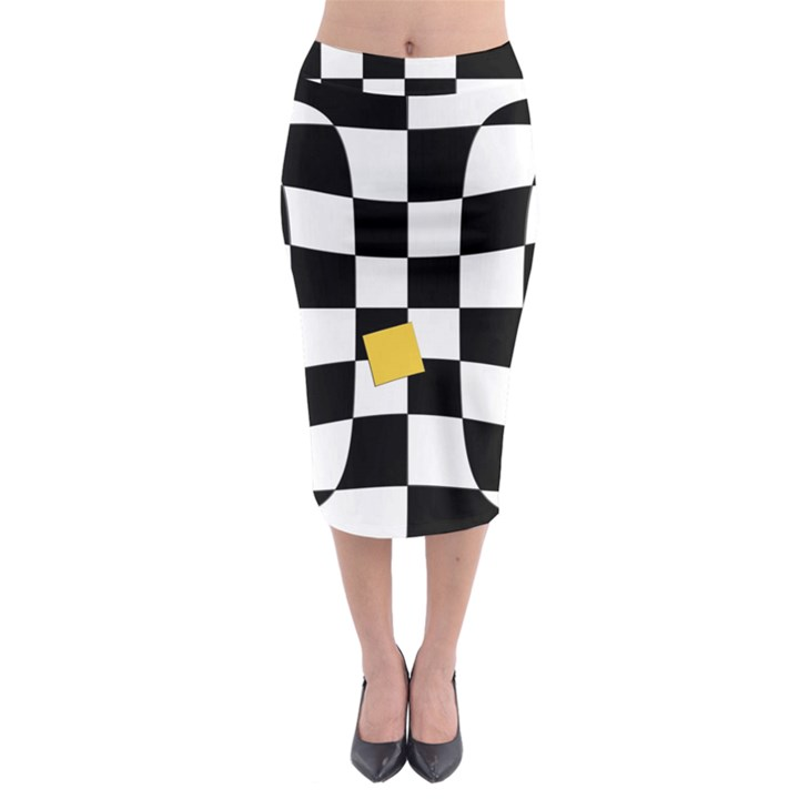 Dropout Yellow Black And White Distorted Check Midi Pencil Skirt