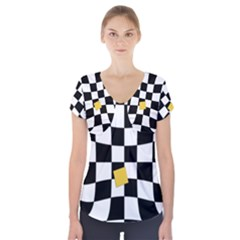 Dropout Yellow Black And White Distorted Check Short Sleeve Front Detail Top by designworld65