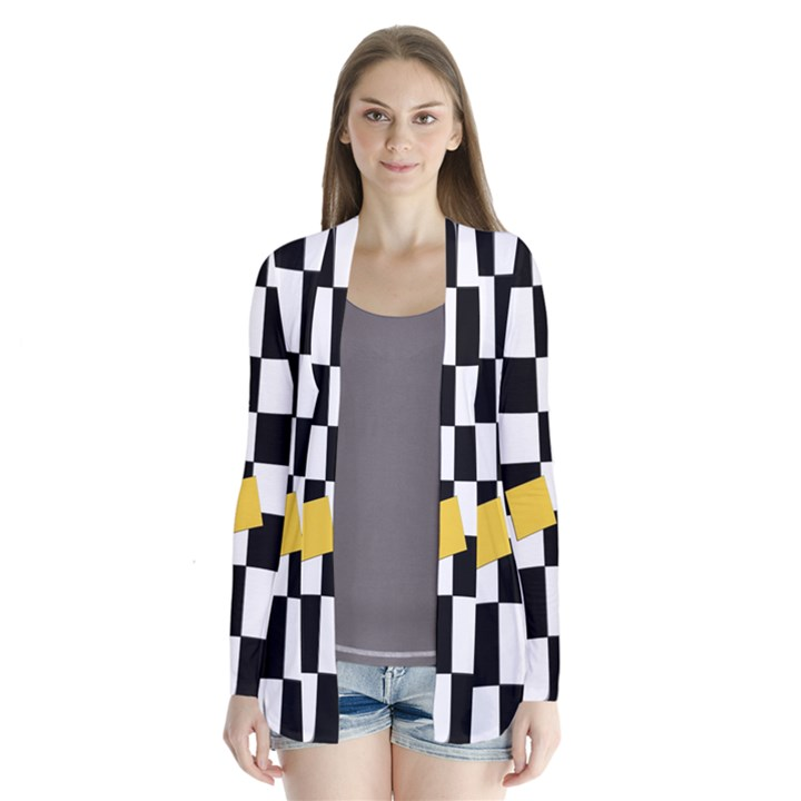 Dropout Yellow Black And White Distorted Check Drape Collar Cardigan