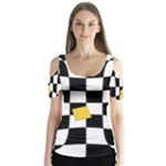 Dropout Yellow Black And White Distorted Check Butterfly Sleeve Cutout Tee