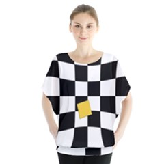 Dropout Yellow Black And White Distorted Check Blouse