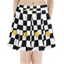 Dropout Yellow Black And White Distorted Check Pleated Mini Skirt View1