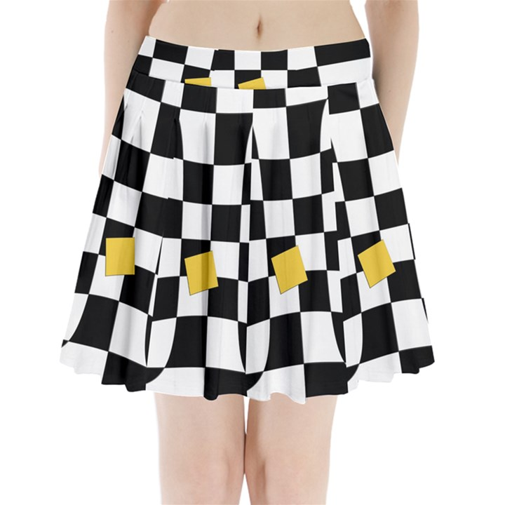 Dropout Yellow Black And White Distorted Check Pleated Mini Skirt