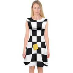 Dropout Yellow Black And White Distorted Check Capsleeve Midi Dress by designworld65