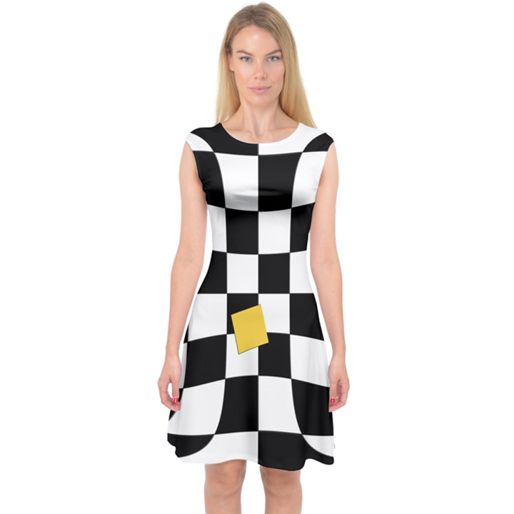 Dropout Yellow Black And White Distorted Check Capsleeve Midi Dress