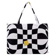 Dropout Yellow Black And White Distorted Check Medium Zipper Tote Bag by designworld65