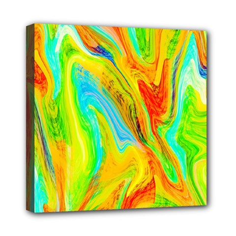 Happy Multicolor Painting Mini Canvas 8  X 8  by designworld65