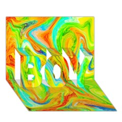 Happy Multicolor Painting Boy 3d Greeting Card (7x5) by designworld65