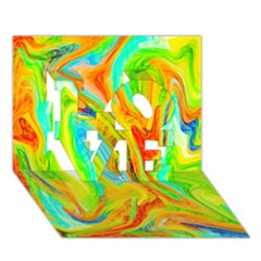 Happy Multicolor Painting Love 3d Greeting Card (7x5)