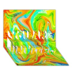 Happy Multicolor Painting You Are Invited 3d Greeting Card (7x5) by designworld65