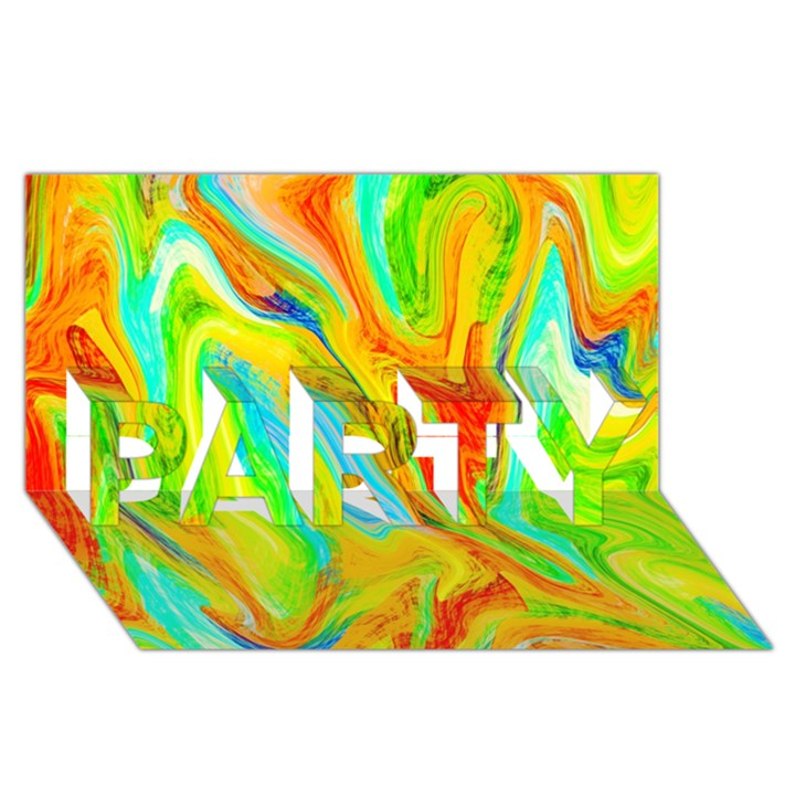 Happy Multicolor Painting PARTY 3D Greeting Card (8x4)