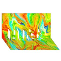 Happy Multicolor Painting Hugs 3d Greeting Card (8x4) by designworld65