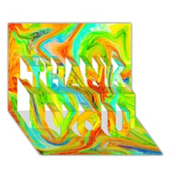 Happy Multicolor Painting Thank You 3d Greeting Card (7x5) by designworld65