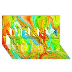 Happy Multicolor Painting Merry Xmas 3d Greeting Card (8x4) by designworld65
