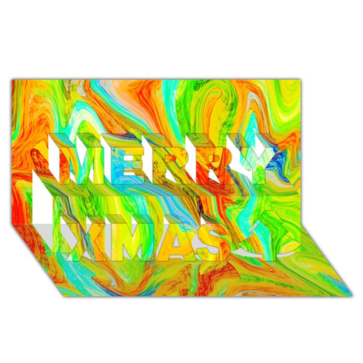 Happy Multicolor Painting Merry Xmas 3D Greeting Card (8x4)