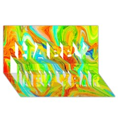 Happy Multicolor Painting Happy New Year 3d Greeting Card (8x4) by designworld65