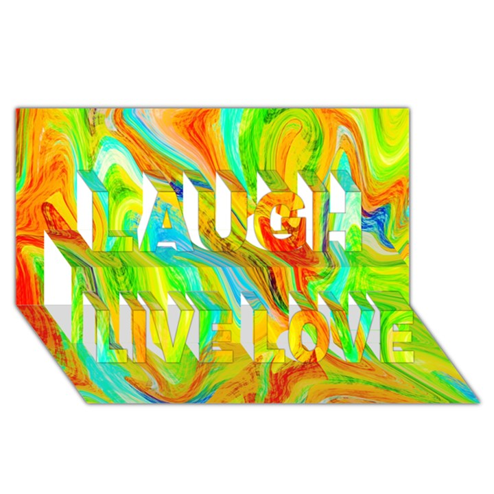 Happy Multicolor Painting Laugh Live Love 3D Greeting Card (8x4)