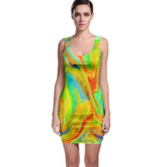 Happy Multicolor Painting Sleeveless Bodycon Dress by designworld65