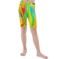 Happy Multicolor Painting Kids  Mid Length Swim Shorts