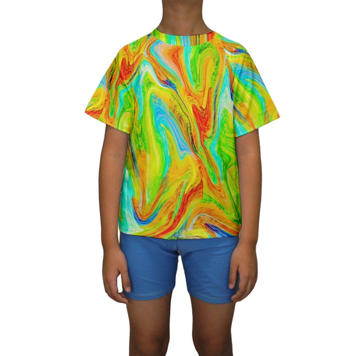 Happy Multicolor Painting Kids  Short Sleeve Swimwear