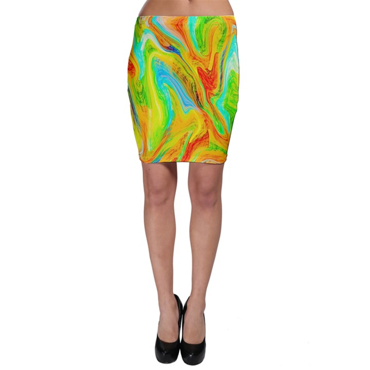 Happy Multicolor Painting Bodycon Skirt