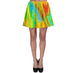 Happy Multicolor Painting Skater Skirt by designworld65