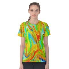 Happy Multicolor Painting Women s Cotton Tee