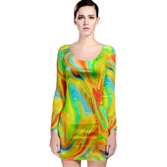 Happy Multicolor Painting Long Sleeve Bodycon Dress by designworld65