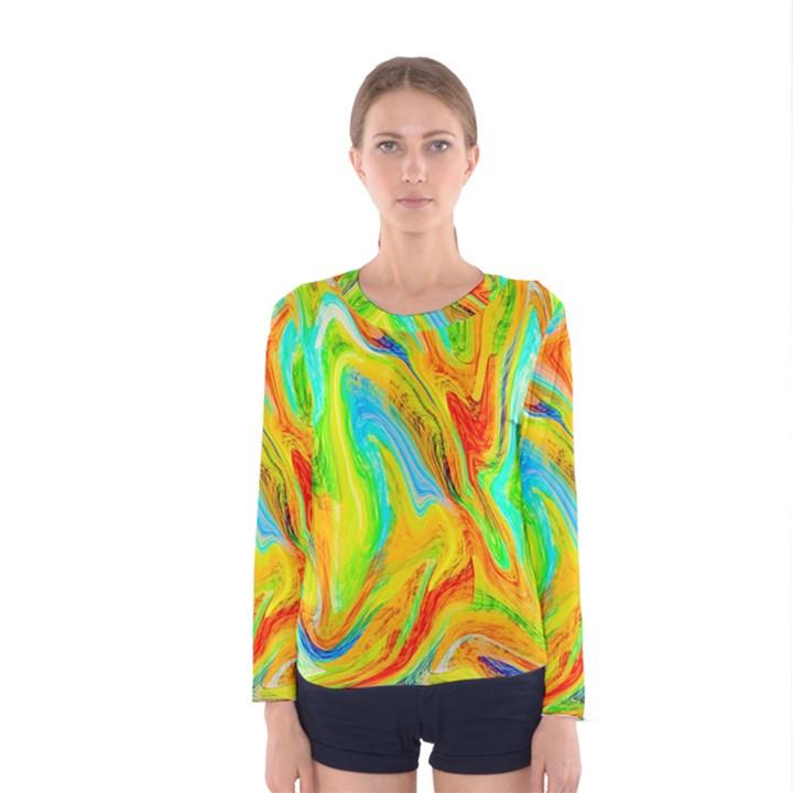 Happy Multicolor Painting Women s Long Sleeve Tee