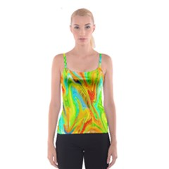 Happy Multicolor Painting Spaghetti Strap Top by designworld65
