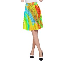 Happy Multicolor Painting A Line Skirt by designworld65