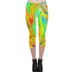 Happy Multicolor Painting Capri Leggings  by designworld65