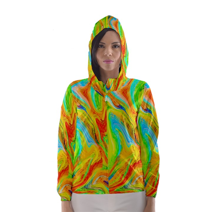 Happy Multicolor Painting Hooded Wind Breaker (Women)