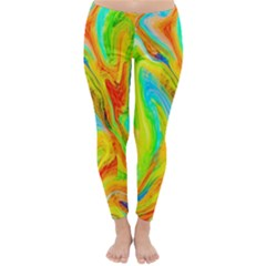Happy Multicolor Painting Winter Leggings  by designworld65