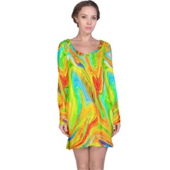 Happy Multicolor Painting Long Sleeve Nightdress by designworld65