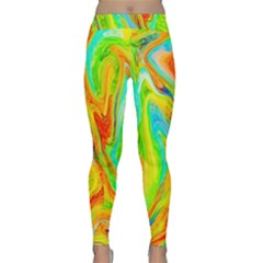 Happy Multicolor Painting Yoga Leggings  by designworld65