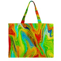 Happy Multicolor Painting Zipper Mini Tote Bag by designworld65